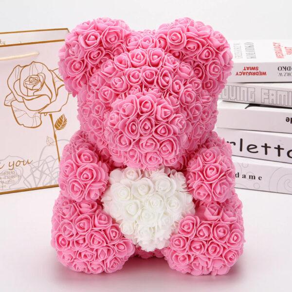 Rosenbär-aus-Rosa-Rosen-mit-weißem-Herzen-40cm
