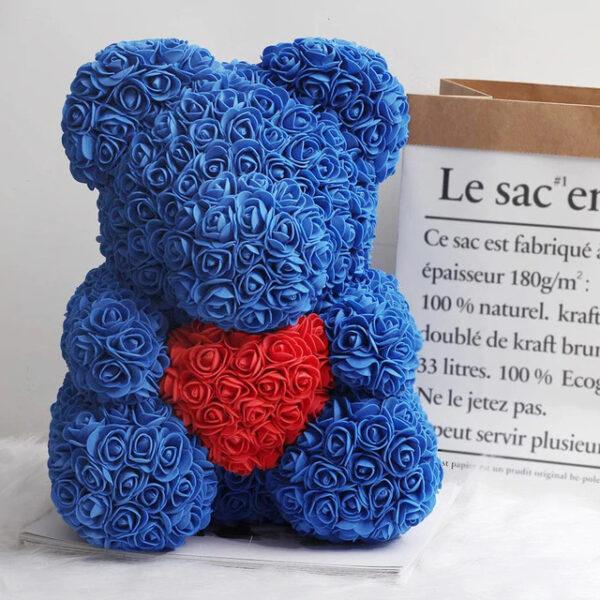 Rosenbär-aus-blauen-Rosen-mit-rotem-Herzen-40cm