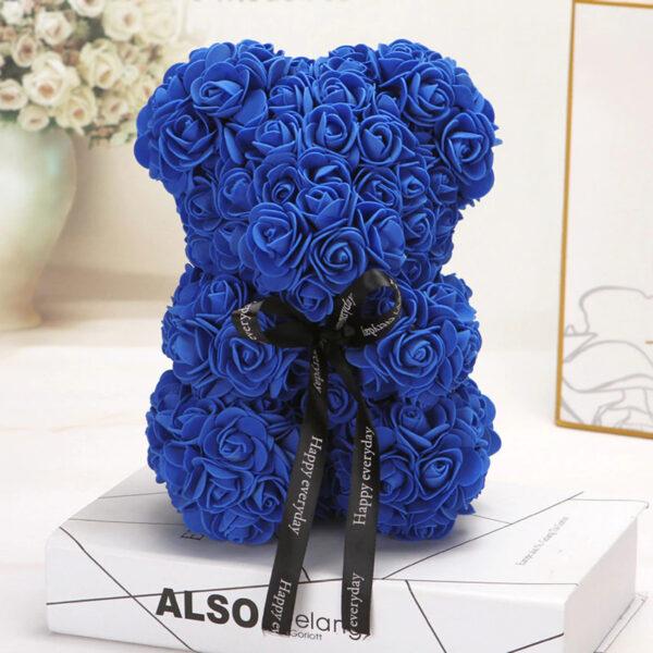 Rosenbär-blau-25cm