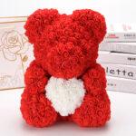 Rosenbär-aus-roten-Rosen-mit-weißem-Herzen-40cm